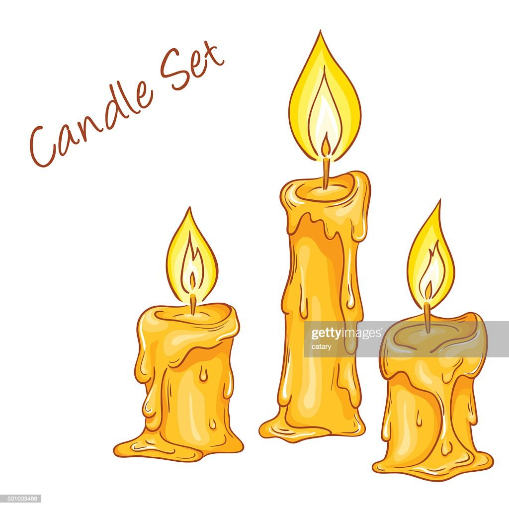 set of isolated cartoon hand drawn melted candles