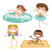 Set of isolated cartoon kids playing at the beach. A bown hair boy swimming, a curly brown girl wearing a swimming float, a blonde girl wearing swimming sleeves and a black boy sitting on his towel.