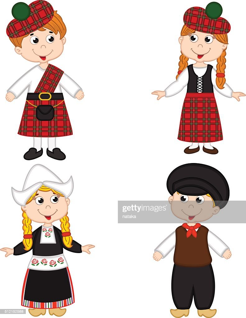 set of isolated children of Scotland and Netherlands nationalities