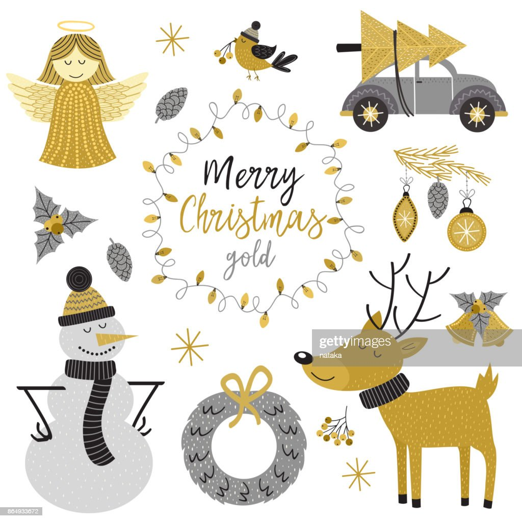 set of isolated Christmas gold characters and elements