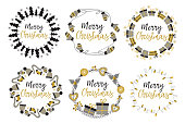 set of isolated Christmas gold frames
