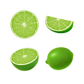 Set of isolated colored green lime, half, slice, circle and whole juicy fruit on white background. Realistic citrus collection.