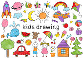 set of isolated colored kids drawing