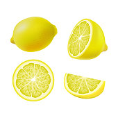 Set of isolated colored lemons, half, slice, circle and whole juicy fruit on white background. Realistic citrus collection.