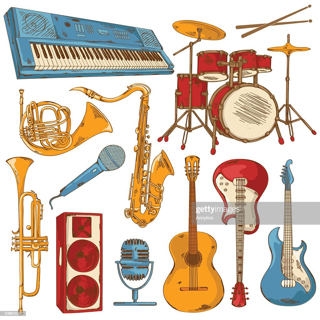 Set of isolated colorful musical instruments