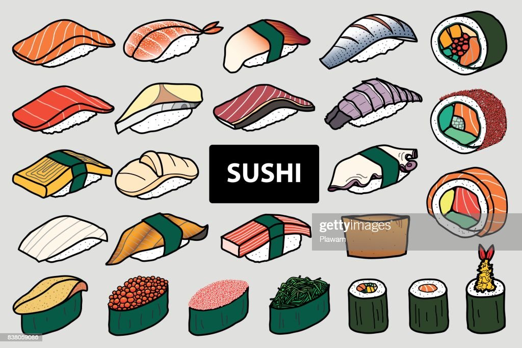 Set of isolated colorful sushi and roll in 25 menu. Cute hand drawn style. Vector illustration.