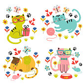 set of isolated cute cats in flowers