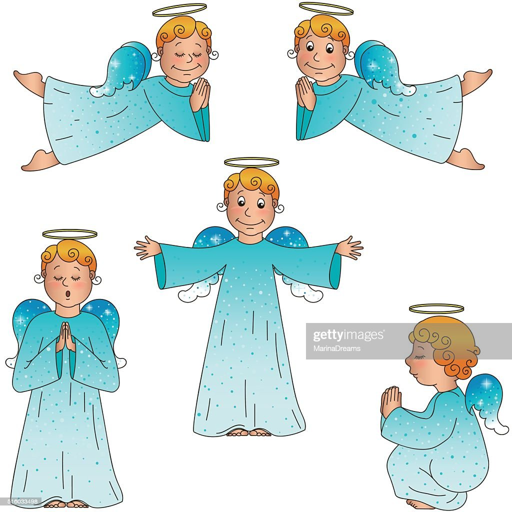 set of isolated cute little angels, vector format