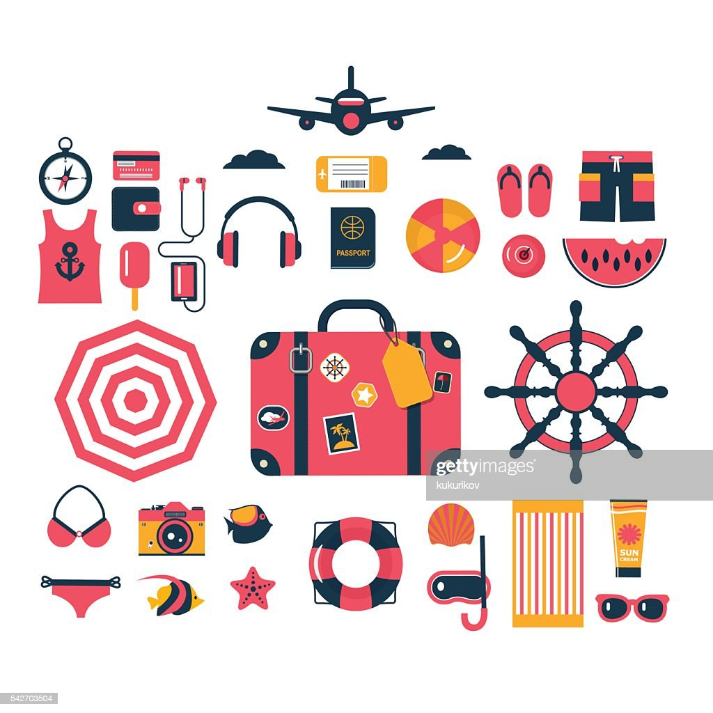 set of isolated flat vector icons for summer holidays