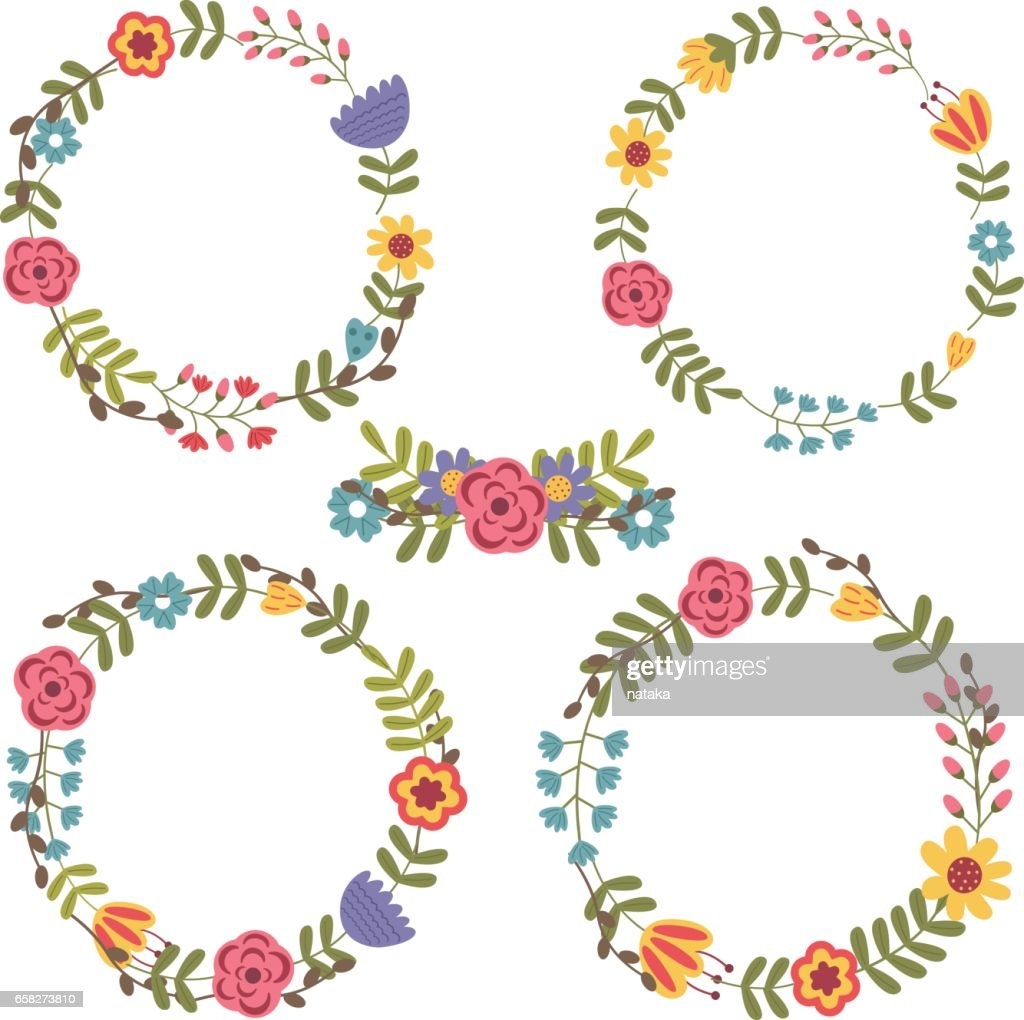 set of isolated floral frame