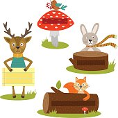 set of isolated forest animal with frame for your text part 2
