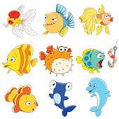 set of isolated funny cartoon fishes