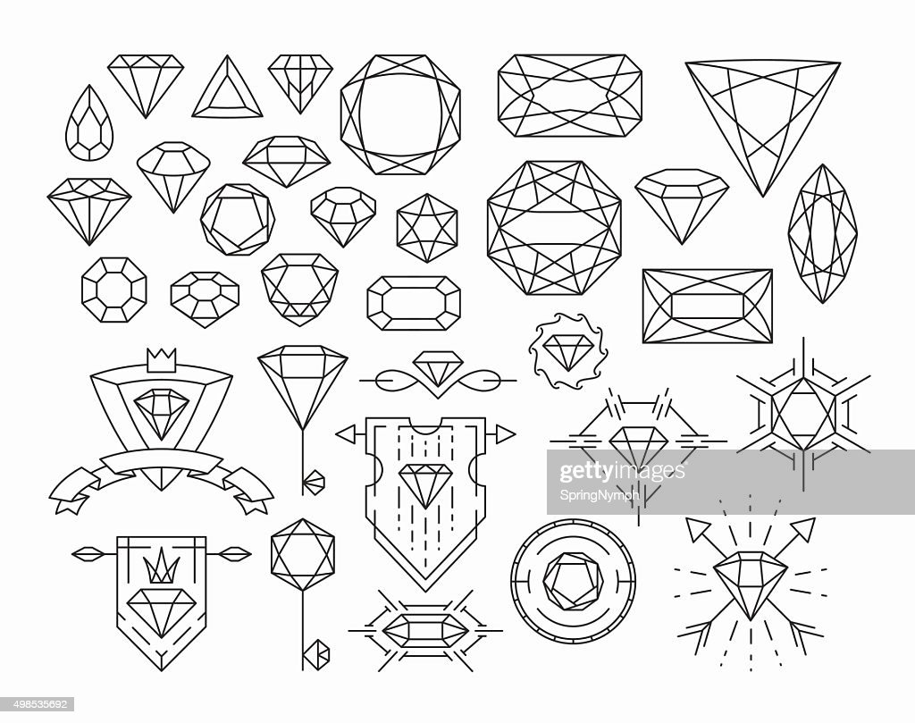 Set of isolated gemstones and thin line design elements