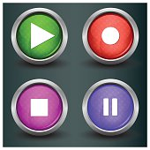 Set of isolated glossy vector web buttons. Beautiful internet buttons.