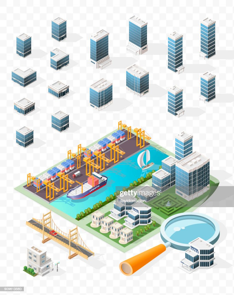 Set of Isolated High Quality Isometric City Elements . Harbor with Shadows on Transparent Background