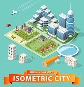 Set of Isolated High Quality Isometric City Elements on Green Background