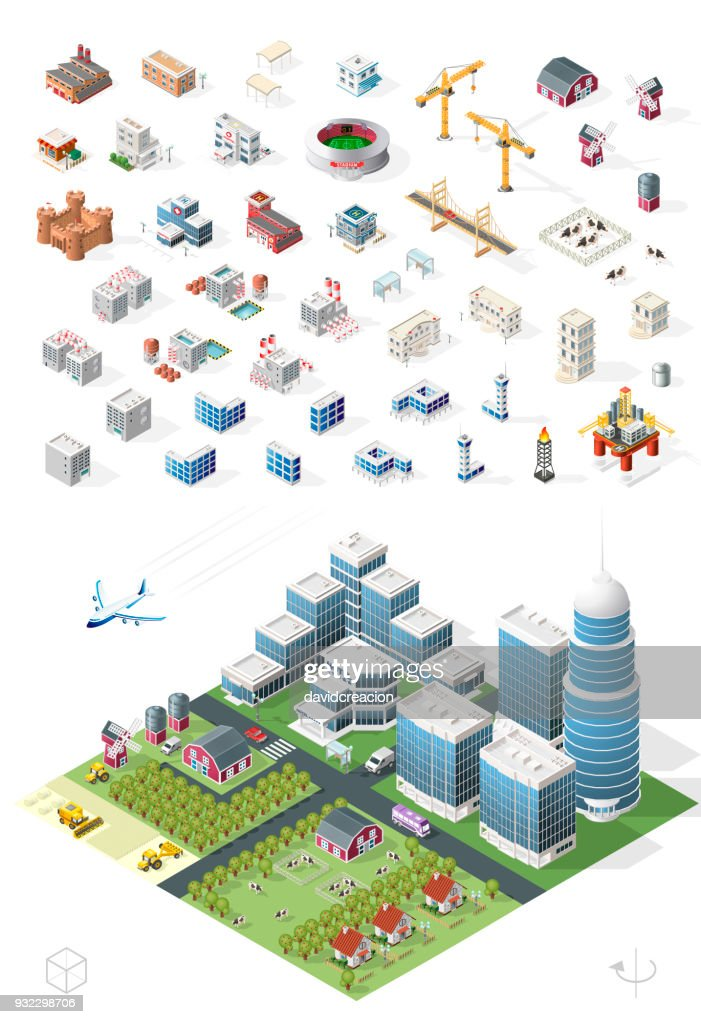Set of Isolated High Quality Isometric City Elements on White Background