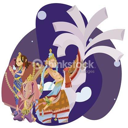 set of isolated hindu gods meditation in yoga poses lotus
