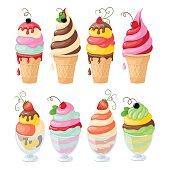 set of isolated ice cream on the white