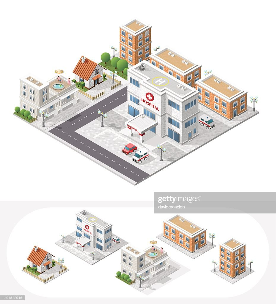 Set of Isolated Isometric City Elements on White Background.