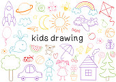 set of isolated kids drawing