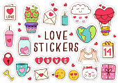 set of isolated love stickers part 1