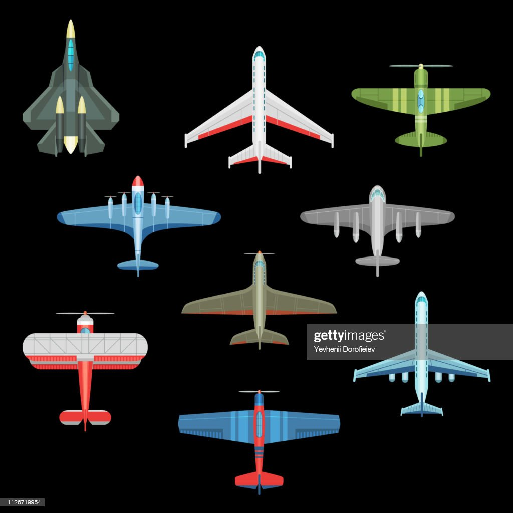 Set of isolated military airplanes