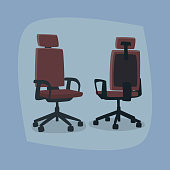 Set of isolated office chairs in different angles