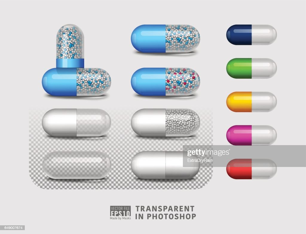 Set of isolated pill drug on transparent background