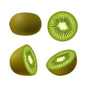 Set of isolated realistic colored whole juicy kiwi, half green kiwi and kiwi circle on white background. Realistic fruit collection.