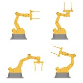 Set of isolated robotic hands. Assembly using robotic arms. Industrial technology and factory.