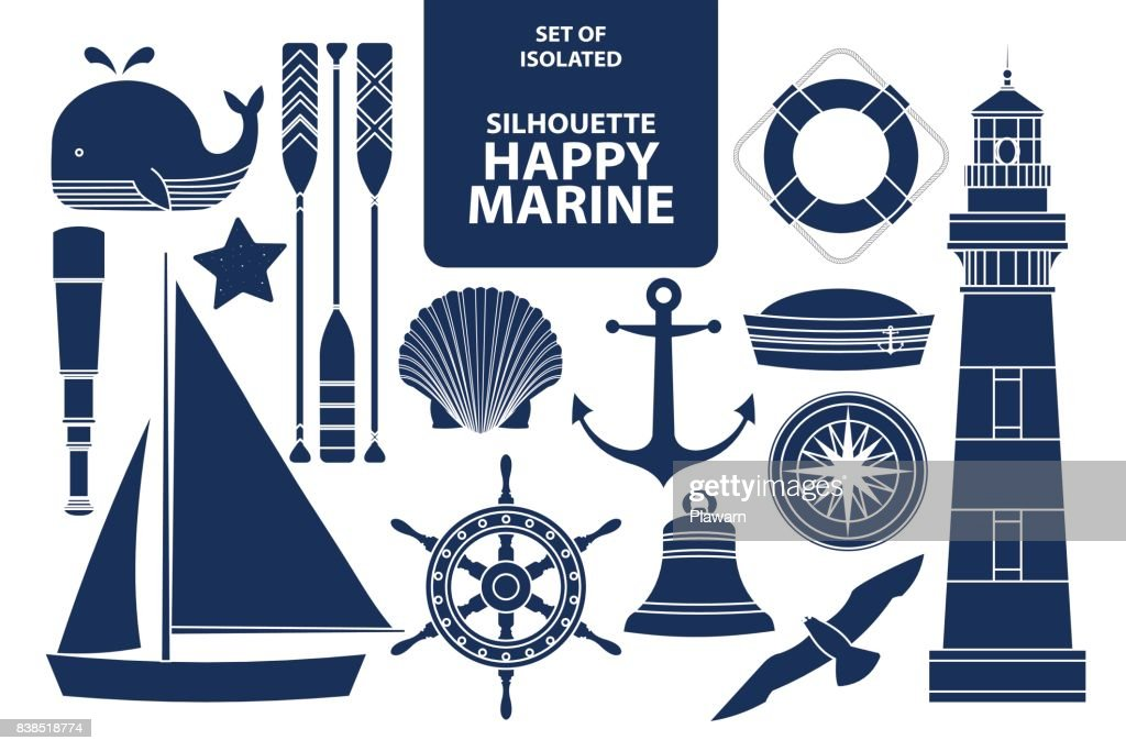Set of isolated silhouette happy marines in dark blue outline and white plane style.