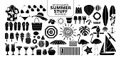 Set of isolated silhouette summer stuff in 59 pieces.