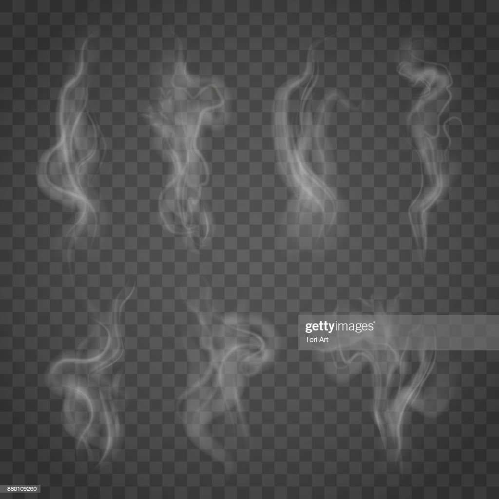 Set of isolated smoke on a transparent background.