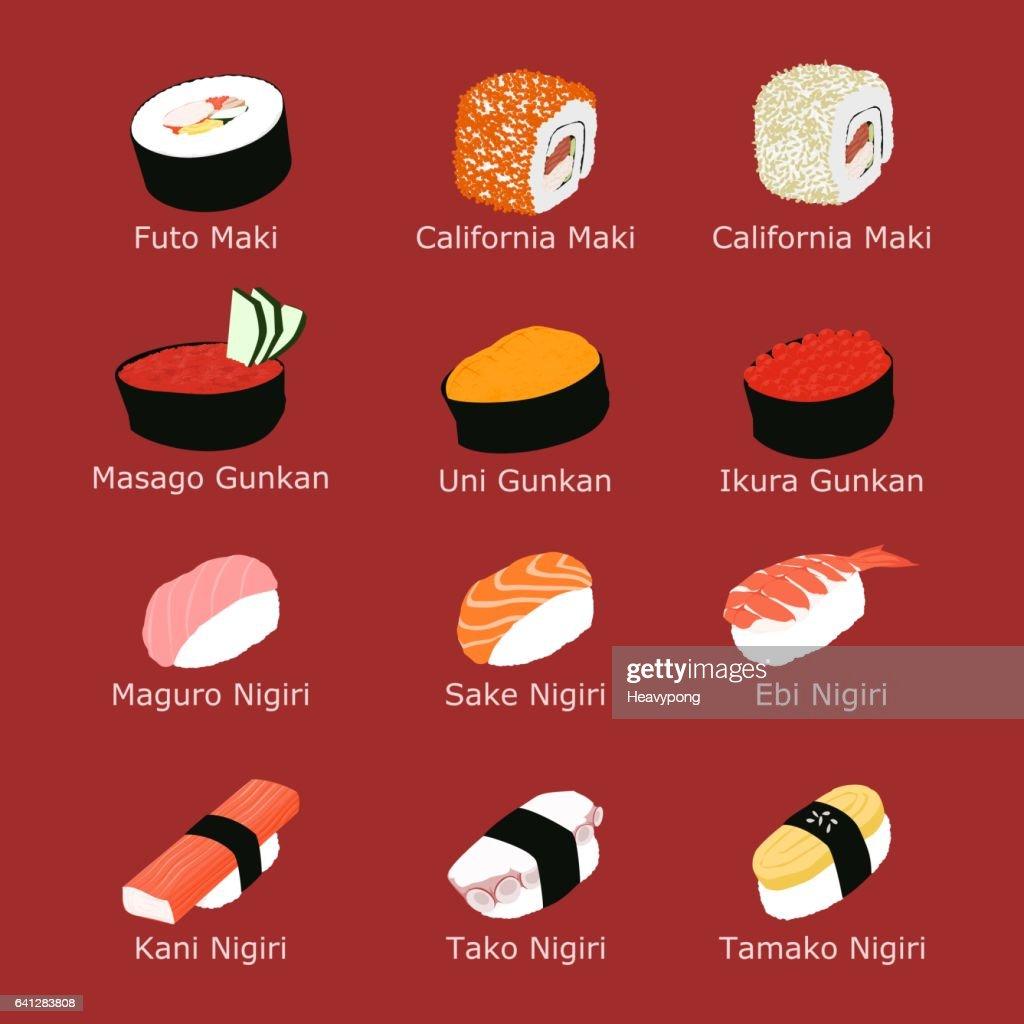 Set of isolated sushi
