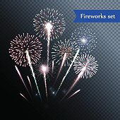 Set of isolated vector fireworks