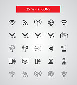 Set of isolated vector wireless icons