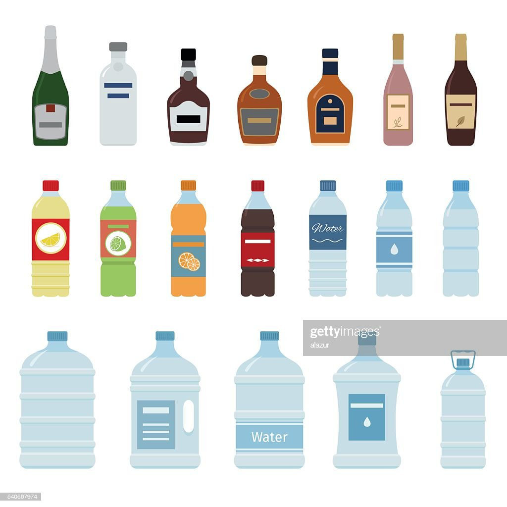 Set of isolated water and alcohol bottle icon.