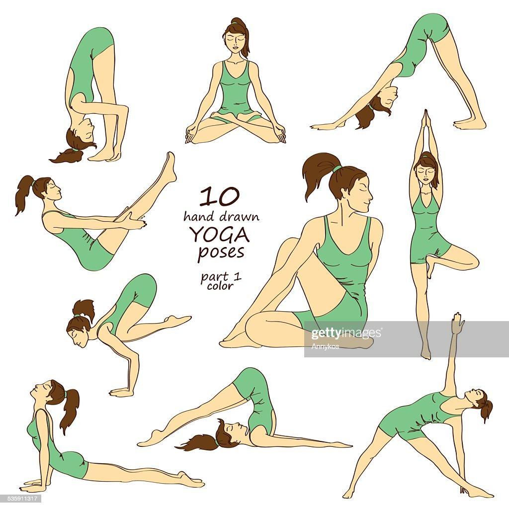 Set of isolated yoga poses : Vector Art