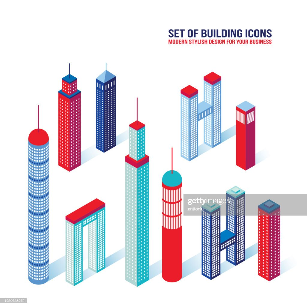 Set of isometric building icons 3D Architecture