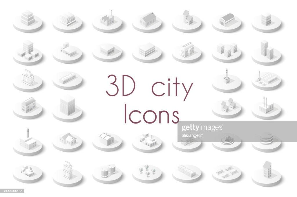 Set of isometric city