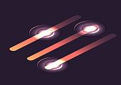 Set of isometric glowing sliders. Vector infographic elements