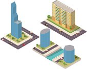 A set of isometric houses and skyscrapers with trees and cars and helicopter.Houses on the river bank.