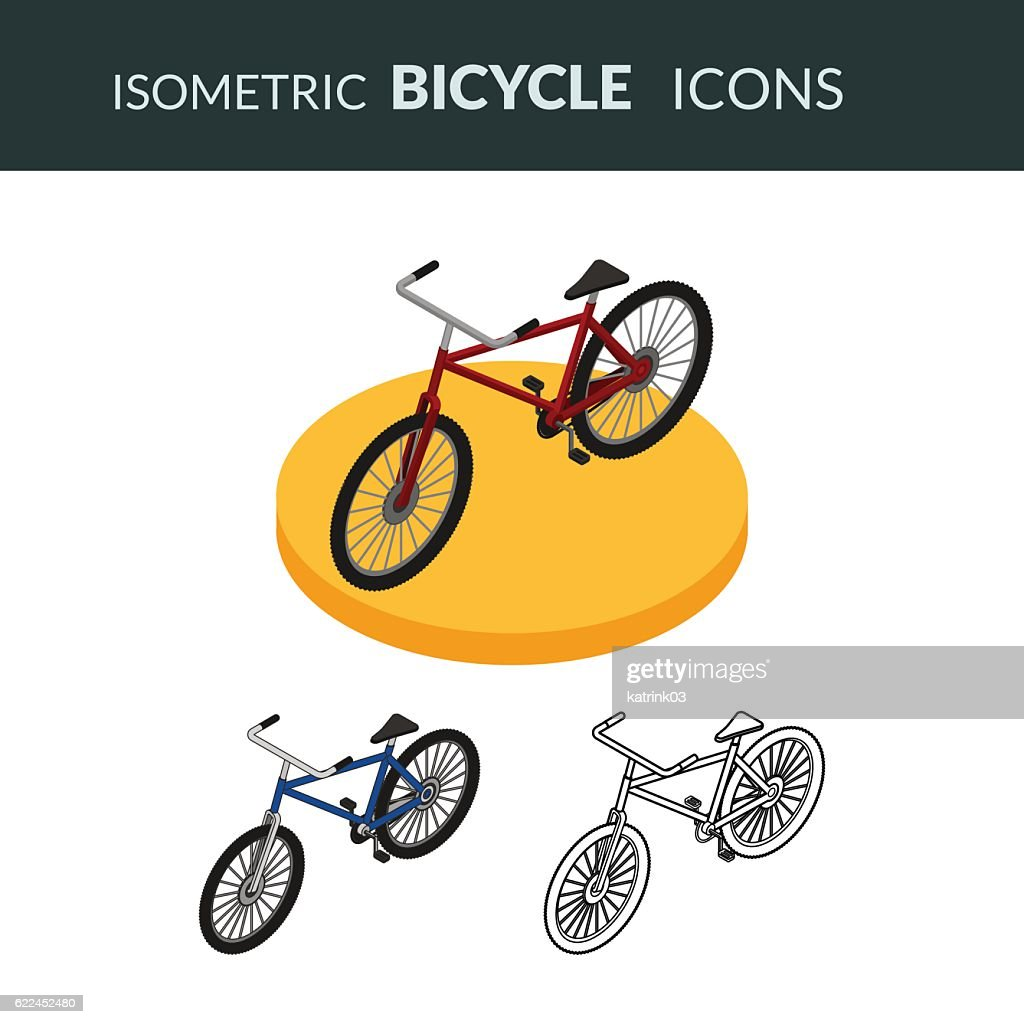 Set of isometric icons of the bicycle