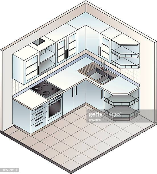 set of isometric kitchen - cabinet stock illustrations, clip art, cartoons, & icons