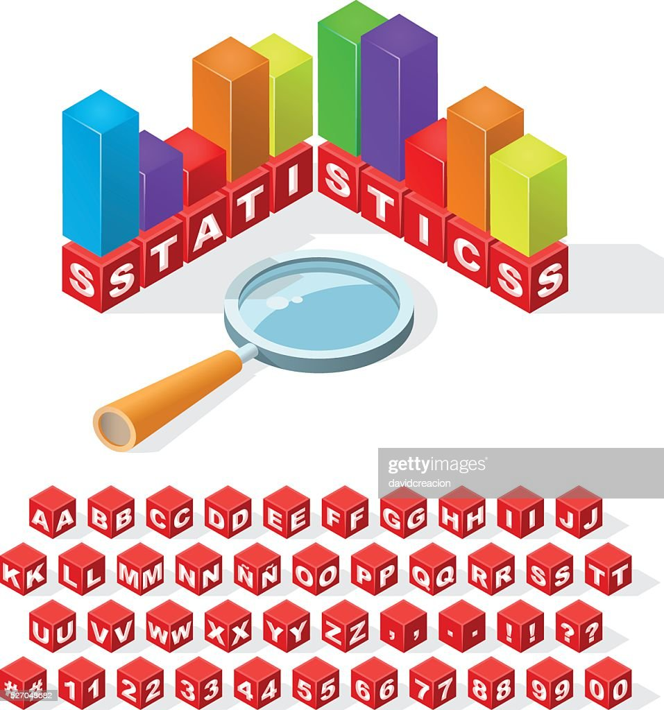 Set of Isometric Latin Alphabet Letters with Numbers.