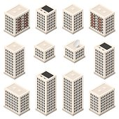 Set of isometric modern beige buildings