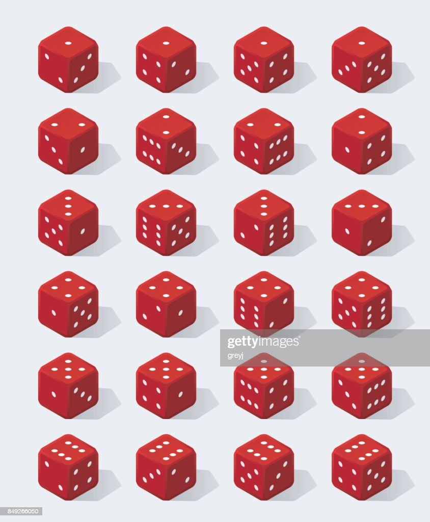 Set of isometric red dice
