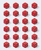 Set of isometric red dice