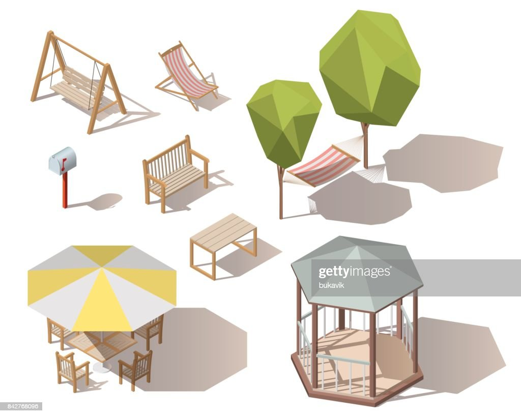Set of isometric vector outdoor objects.Wooden table,mailbox,letterbox, hammock between two trees,bench,umbrella with table and chairs,chaise-lounge ,chair, alcove, hanging on frame porch swing bench